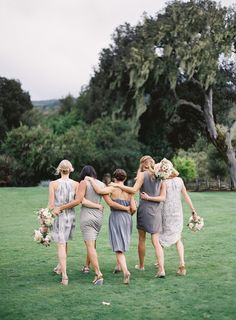 mismatched bridesmaids in gray
