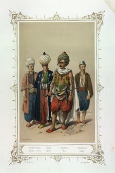 4 Pirpiri Esnaf, Janissary (worker). Ousta, Captain. Galiodji, Seaman. Touloumbadji, Fireman.  Elbicei Antiquities. Museum of Old Turkish Costumes of Istanbul by Jean Brindesi and colourists: Bayalos, Raunheim and Lemoine. Published by Lemercier, Paris, 1855