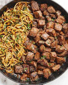 Garlic butter Steak Bites with Lemon Zucchini Noodles – So much flavor and so easy to throw together! Sirloin steak cubes are marinated and cooked to perfection in a delicious garlic butter sauce and served with healthy, low carb Skirt Steak Recipes, Beef Recipes, Cooking Recipes, Healthy Recipes, Recipes With Steak, Sirloin Steak Recipes, Chicken Recipes, Fast Recipes, Roast Beef