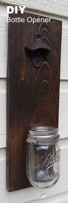DIY Pallet Mason Jar Bottle Opener Idea (Bottle Opener)