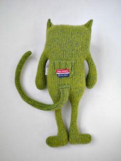 Stuffed Animal Cat from Wool Sweater Felted by sweetpoppycat