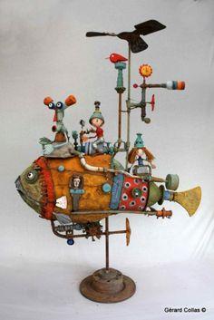 gérard collas, sculpture, poisson assemblage