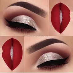 """Gorgeous look, perfect for Christmas ❤️ by @swetlanapetuhova . _____ Brows: @anastasiabeverlyhills waterproof creme color in """"Sable"""" Eyeshadow: @makeupaddictioncosmetics flamingo love palette Glitter: chunky glitter """"jingle bells"""" by @_glittereyes_ Liner: @tartecosmetics tarteist clay paint liner Lips: @toofaced Lady Balls liquid lipstick"""""""