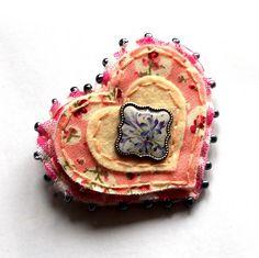 Felt fabric brooch heart jewelry jewellery uk by mollymoodesign, £10.00