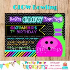bowling birthday party invitation glow in the dark bowliing invite