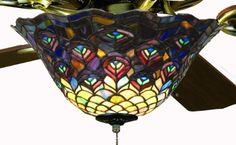 Tiffany Street 25021 Peacock Stained Glass Ceiling Fan Light Kit...