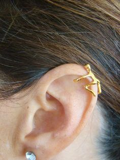 Climbing Man Gold Ear Cuff Unique Jewelry by ShinyLittleBlessings, $14.50