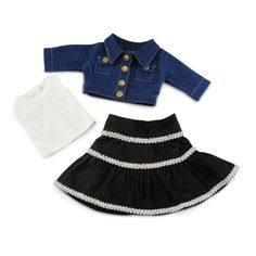 """Amazon.com: Denim Jacket Peasant Skirt - 18 Inch Doll Clothes/clothing Fits American Girl and Other 18""""dolls: Toys & Games"""