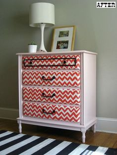 A Chevron rug makes a bold modern statement in a somewhat traditional space. {source: The Handmade Home }  It seems everywhere I look these days, the classic zigzag pattern known as Chevron is popping up! Furniture Projects, Furniture Makeover, Diy Furniture, Diy Projects, Trendy Furniture, Project Ideas, Chevron Dresser, Paint Chevron, Chevron Fabric