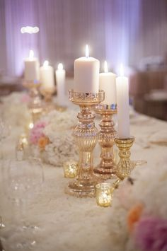 Gold Mercury Glass Candle Holders | photography by http://melissagidneyphoto.com/