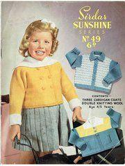 Sirdar sunshine 49 girls cardigan vintage knitting pattern ORIGINAL