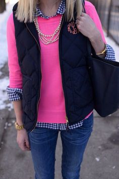 I love the checked shirt with the pink sweater & the monogrammed vest is super cute!!!