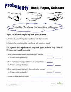 Probability Worksheets: Rock, Paper, Scissors Probability Worksheet (could be easily extended for grade probability) Math Teacher, Math Classroom, Teaching Math, Probability Worksheets, Math Fractions, Multiplication Chart, Sixth Grade Math, 7th Grade Math Games, 7th Grade Math Worksheets