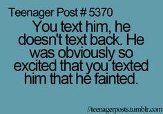 yeah, he definitely fainted. #teenagerposts