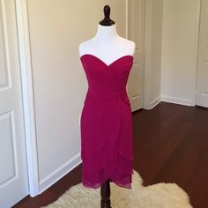 """Tadashi Fuschia Strapless """"Marilyn"""" Dress Never been worn. Absolutely stunning dress. Very sexy open draping in the front. Form fitting bodice with sheer fabric layering on the bottom. Tadashi Dresses"""