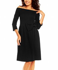 Another great find on #zulily! Black Bow Boatneck Dress #zulilyfinds