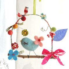 a little bird and flowers blue