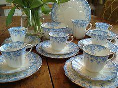 Alton blue and white floral bone china  tea set with gilt trim, made in England, ca 1900-1919