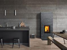 Koli is characterised by its vertically oriented high door. The modern door has a thin dark grey metal border and double glazing. Interior, Modern Door, Home Decor, Double Glazing, Modern Interior, Fireplace, Doors