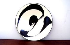 Asian Porcelain Plate by Ann Mallory California Pottery    This vintage California porcelain plate was made between 1986-1989 from the Sumi Line. The