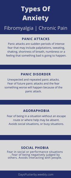 Types of Anxiety - Panic Attacks, panic disorder, agoraphobia, social phobia