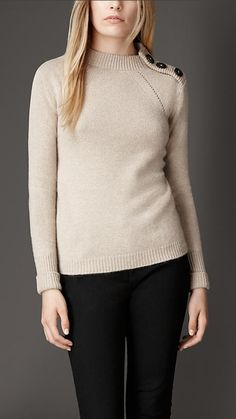 Burberry London Button Detail Cashmere Sweater