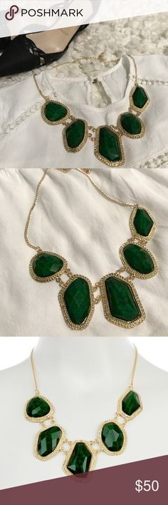 Emerald green statement necklace Gorgeous Emerald green statement necklace 💚  Material content: 18K gold plated metals, glass crystals, nickel & lead free.   Black Christian Louboutin slingback pumps size 36.5 and off white Forever21 blouse are also available in my closet.    Use offer button for offers. Bundle and save. Jewelry Necklaces
