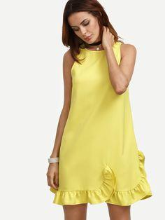 Shop Yellow Ruffle Hem Sleeveless Shift Dress online. SheIn offers Yellow Ruffle Hem Sleeveless Shift Dress & more to fit your fashionable needs.