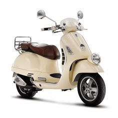 I am all over this! Cream Vespa w brown spit leather seat... yes please!