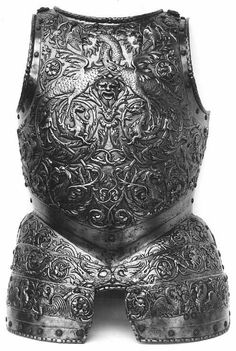 Breastplate C. Milan Iron, copper, leather, fabric Former Pierre Révoil collection, acquired in 1828 Department of Decorative Arts Armor Clothing, Medieval Clothing, Fantasy Armor, Fantasy Weapons, Near Dark, Good Knight, Sword Fight, Landsknecht, Knight Armor