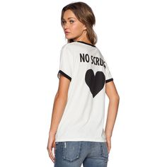Lovers + Friends No Scrubs Tee Tops ($88) ❤ liked on Polyvore featuring tops, t-shirts, graphic tees, graphic t shirts, white t shirt, white tops and white graphic t shirts