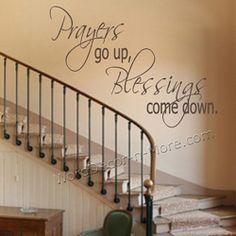 PRAYERS GO UP Spiritual Wall Quote-prayers go up spiritual wall quote, removable wall quote decor, prayer wall decal, spiritual wall sticker