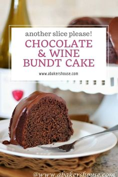 Combine two of life's great gifts in one with this Chocolate and Wine Bundt Cake. This cake adapted from a Martha Stewart recipe is rich with chocolate with the wine in the background with a chocolate icing to finish off this moist Bundt. Best Cake Recipes, Cupcake Recipes, Sweet Recipes, Cupcake Cakes, Dessert Recipes, Bundt Cakes, Pudding Recipes, Frosting Recipes, Pie Recipes