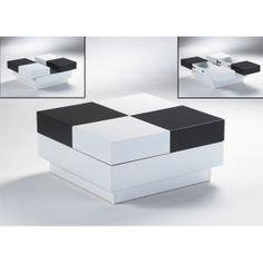 Superbe Chess Black U0026 White High Gloss Storage Coffee Table, 3920 11.05