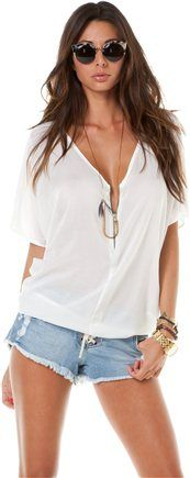 Cute summer top... you can never go wrong with denim and a white top