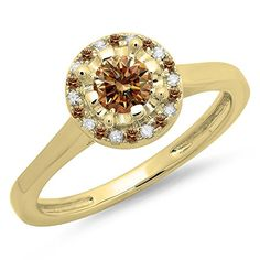 0.50 Carat (ctw) 14K Yellow Gold Champagne & White Diamond Bridal Halo Engagement Ring 1/2 CT (Size 10). Other ring sizes may be shipped sooner. Most rings can be resized. Items is smaller than what appears in photo. Photo enlarged to show detail. Satisfaction Guaranteed. Return or exchange any order within 30 days. All our diamonds are conflict free. Gemstone : Diamond.