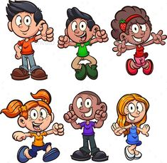 Buy Cartoon Kids by memoangeles on GraphicRiver. Happy cartoon boys and girls clip art. Vector illustration with simple gradients. Best Cartoon Characters, Children's Book Characters, Happy Cartoon, Cartoon Boy, Character Concept, Character Design, Easy Cartoon Drawings, Girls Clips, Global Art