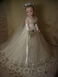 Vintage 1950's Cissy Doll Bridal Gown Only No Doll . This outfit, with several replacement pieces, sold 2/15/15 for $456.01. 9 bids.