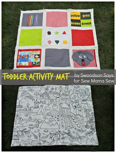 Toddler Activity Mat-- Tutorial by Swoodsonsays.com for Sew Mama Sew. A small quilt with several interactive squares to engage your little one in play and learning -- and keep them from running off into the woods while you're picnicking!