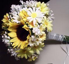 Bridal Bouquet Wedding Flowers Sunflower Daisy Bouquet. $30.00, via Etsy.