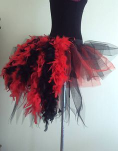Burlesque Tutu Skirt ReD BlacK Bustle Feathers Size 6 8 10 12 Mardi Gras