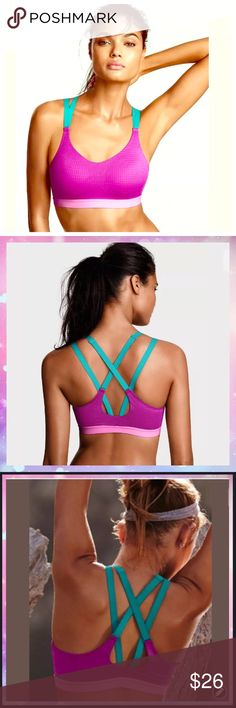 Lightweight by Victoria Sport Bra Berry Diva 36D NWT Lightweight by Victoria Sport Bra -     Berry Diva 36D Strappy-Back  Color:  Berry Diva   Medium support Adjustable straps no clasps or hooks   Performance & Fabric Perfect for spinning, kickboxing and circuit training Super-soft elastic band for comfort & movement Lightweight and breathable Body-Wick keeps you cool & dry Victoria's Secret Intimates & Sleepwear Bras
