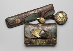 Spectacular tobacco-pouch and pipecase with embossed designs; kagami netsuke; kanamono; ojime | Museum of Fine Arts, Boston