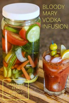 The Best Bloody Mary Vodka Infusion Want to know the secret to the perfect Bloody Mary? Use this Bloody Mary Vodka Infusion. This recipe is made with an assortment of flavorful vegetables and herbs that will make your next Bloody Mary the best one ever! Party Drinks, Cocktail Drinks, Fun Drinks, Cocktail Recipes, Alcoholic Drinks, Beverages, Vodka Drinks, Margarita Recipes, Mixed Drinks