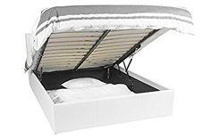 Ottoman struttura letto - 140x190 - Bianco - Spazio extra per riporre oggetti, facile da usare, design senza tempo, di grande qualità, ecopelle, 1 anno di garanzia