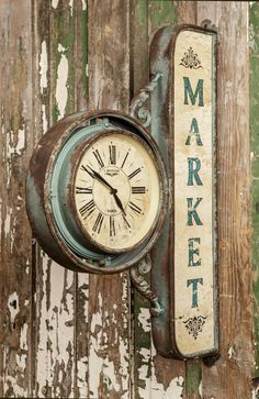"Farmhouse Market Clock - This treasure is sure to transform your space into a true vintage farmhouse market. We are crazy about it's substantial size and unique charm. Metal Farmhouse Market Clock measures 20"" x 4"" x 30"" - I love this!!!"