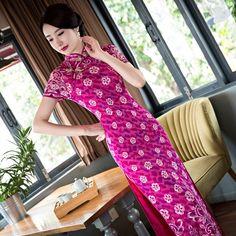 New Arrival Hot Pink Women's Lace Long Cheongsam Fashion Chinese Style Dress Elegant Qipao Vestido Size S M L XL XXL 246105