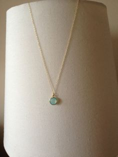 Mint Blue Chalcedony Necklace Gold Vermeil by EliseJewelry1980,