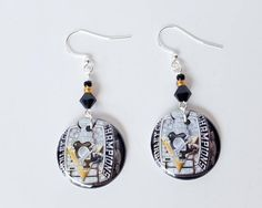 Pittsburgh Penguins  Stanley Cup Champion Button Earrings