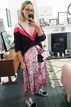 Influencer winter high street outfits: Alex Stedman wears HM skirt and MS jumper Sequin Skirt Outfit, Sequined Skirt, High Street Outfits, Skirt Fashion, Fashion Outfits, Fall Outfits, Sparkle Outfit, Jumper Outfit, Types Of Skirts